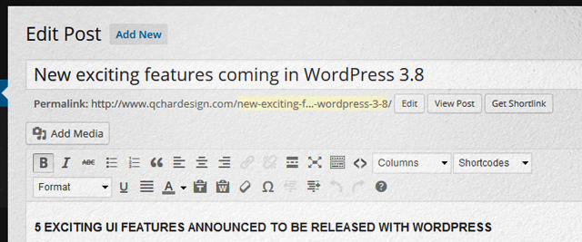 WordPress 3.8 Admin Panel